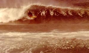 Peter Kuba surfing Redhead 1976