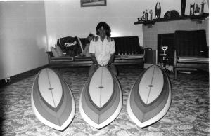 Redhead's Col Smith with boards for Hawaii 1976