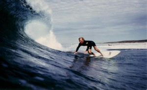 Phillip Woodward surfing