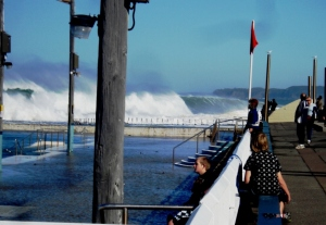 Newcastle Baths in big surf 12-7-11