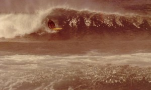 Peter Kuba surfing at Redhead 1976