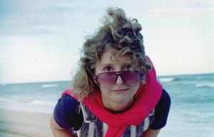 Sandy on a windy day at Redhead Beach 1984