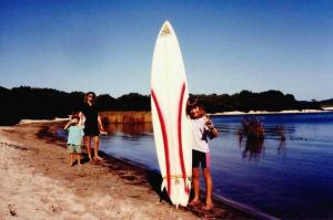 Sandy and the kids taking a drink break walking back from the beach at Sand  Bar 1993.