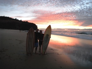 Redhead Beach David and Steve early surf 8-3-14