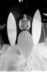 Col Smith shaping channel boards 1979